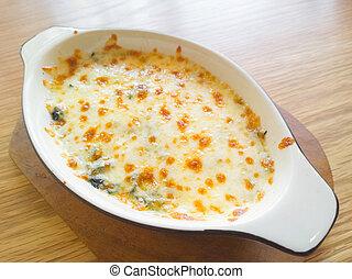 italiano, lasagna, legno, tavola, cima