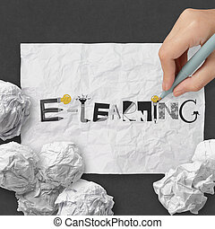 hand drawing design word E-LEARNING on dark crumpled paper and texture background as concept