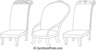 Chairs set, contour