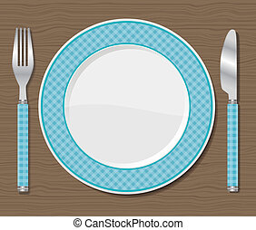 Plate with fork and knife.