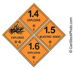 explosivo, aviso, etiquetas