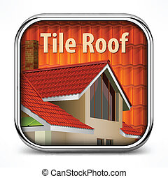Icon with red tile roof