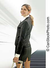 businesswoman in the airport - beautiful businesswoman...