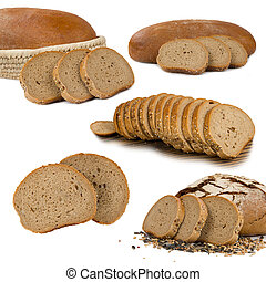 Bread collection - Collection of breads isolated on white