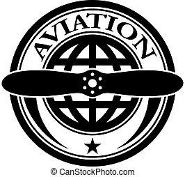 vettore, aviazione, francobollo