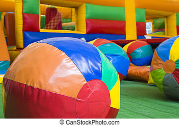 Children play center - Colored balls and toys in a children...