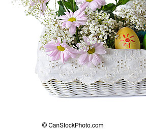 Easter time - colorful easter eggs with pink flowers in...