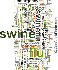 Swine flu wordcloud - Word cloud concept illustration of...