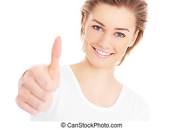 Woman with thumb up - A picture of a happy woman showing ok...