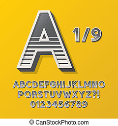 Retro Stripe Style 1 Alphabet and Numbers, Eps 10 Vector...