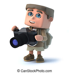 3d Hiker photographer - 3d render of a hiker with his camera