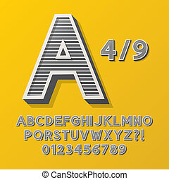 Retro Stripe Style 4 Alphabet and Numbers, Eps 10 Vector...