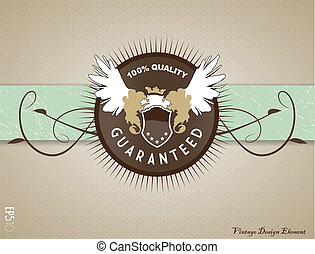 Retro vintage label on doted background.