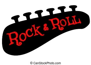 Rock & Roll - Illustration of a guitar headstock tuners and...