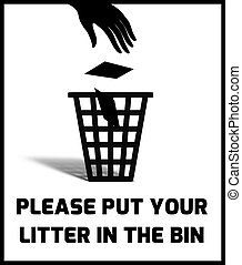 Litter Sign - Illustration of a Litter notice sign