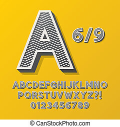 Retro Stripe Style 6 Alphabet and Numbers, Eps 10 Vector...