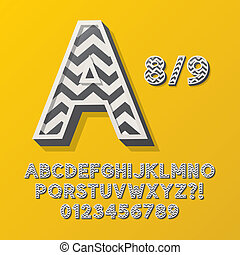 Retro Stripe Style 8 Alphabet and Numbers, Eps 10 Vector...
