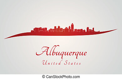Albuquerque skyline in red and gray background in editable...