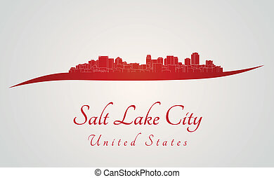 Salt Lake City skyline in red and gray background in...