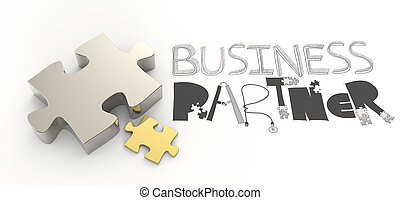 hand drawn graphic word BUSINESS PARTNER and 3d puzzle as...