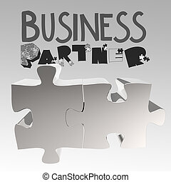 hand drawn graphic word BUSINESS PARTNER and 3d puzzle as concept