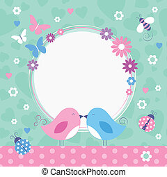 love birds greeting card - flowery pink and blue love birds...