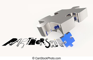 hand drawn graphic word  PARTNERSHIP and 3d puzzle as concept