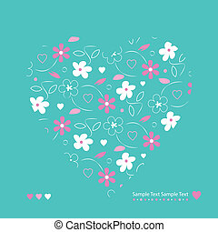 flowery heart greeting card - white and pink flowers heart...