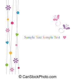 white flowery greeting card - cute violet pink blue yellow...