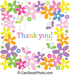 flowery thank you border - hearts flowers and butterflies...