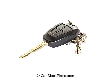 voiture, blanc, isolé, clé