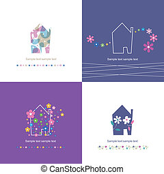 housewarming house symbol set - four flowery housewarming...