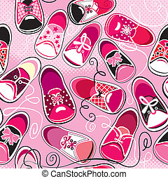 Seamless pattern - children gumshoes on pink background -...