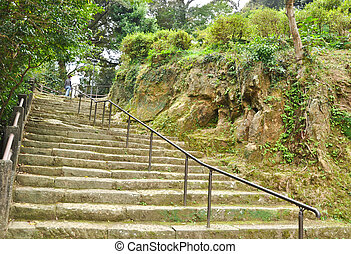 Stone staire up to the hill at Isahaya, Japan