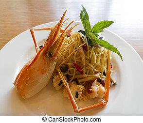 włoski, spaghetti, pasta, Świeży, ostry, krewetki, Sos,...