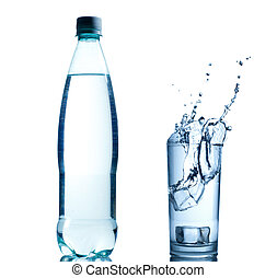 Fresh water splash background - Bottle with pure water and...