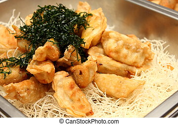 Gyoza - A Deep fried gyoza on Rice Krispies