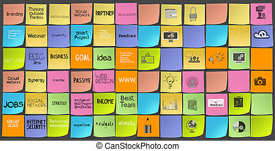 hand drawn words icons of business strategy on sticky note...