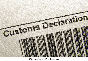 customs declaration - fragment of customs declaration...