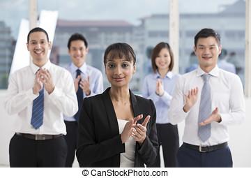 feliz, asiático, empresa / negocio, equipo