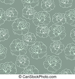 Floral blue green vector pattern