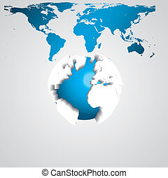 Vector illustration of earth globe 3d
