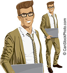 Vector Hipstar Man With Laptop in His Hands - Vector hipster...