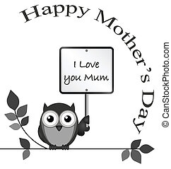 Mothers Day - Monochrome I love you mum message isolated on...