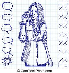Bosquejo, empresa / negocio, mujer, Writting, Algo