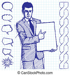 Sketch Businessman With Empty Write Board - Vector sketch,...