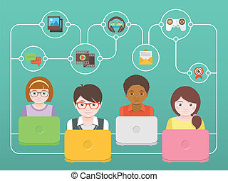 Kids Online - Conceptual illustration of children with...