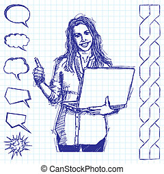 Sketch Female With Laptop Shows Well Done - Vector sketch,...