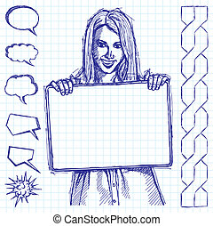 Sketch Happy Business Woman Holding White Card - Vector...