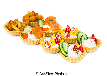 Set of tartlets with different stuffings
